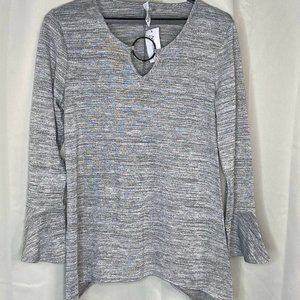 PL Womans Blouse Shirt Long Bell Sleeve Silver